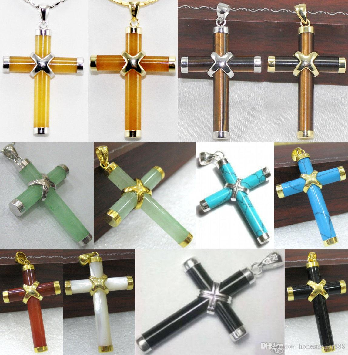 Wholesale cheap 10 colors-green/yellow/red jade-agate-turquoise-tiger eye-shell cross pendant
