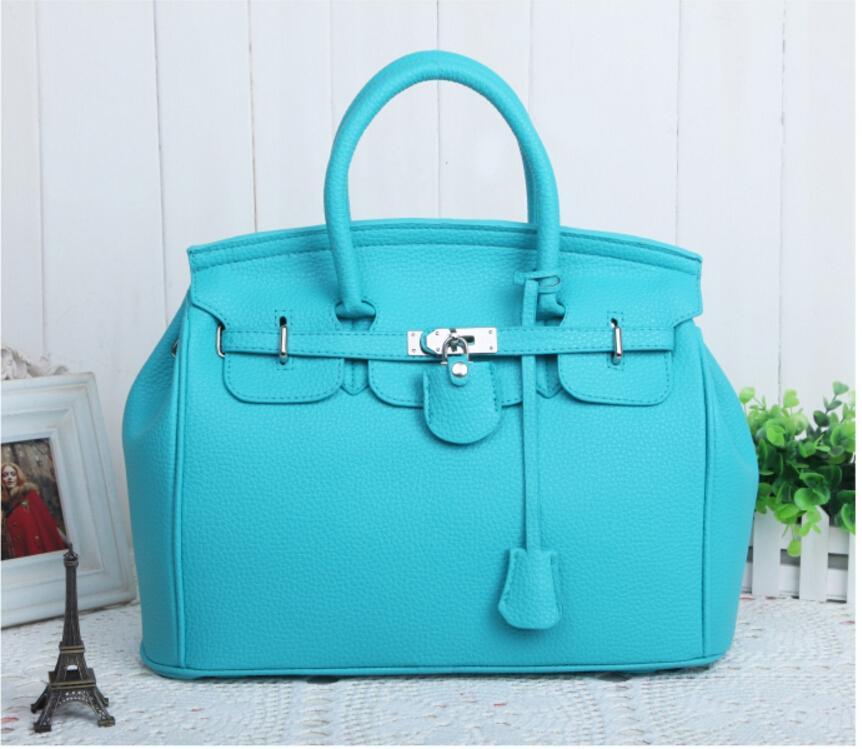 fashion Elegant Vintage Womens Lady Celebrity PU Leather Totes Handbags Shoulder Hand Bag with Lock