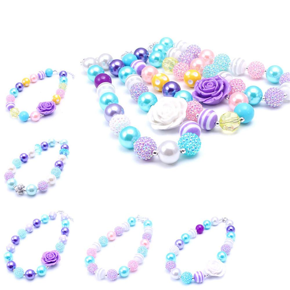 2PCS Newest Design Beautiful Necklace Birthday Party Gift For Toddlers Girls Beaded Bubblegum Baby Kids Chunky Necklace Jewelry