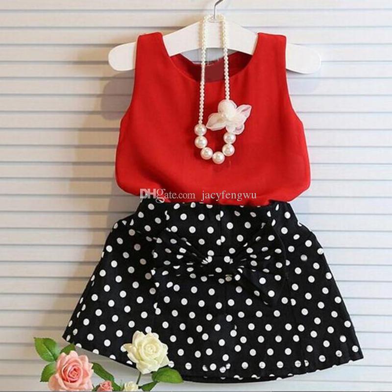 Baby Girls Clothes Sets Fashion Boutique Children dot dot painting dress sets Kids clothes children tees skirts chiffon Outfits 2pcs XZT014