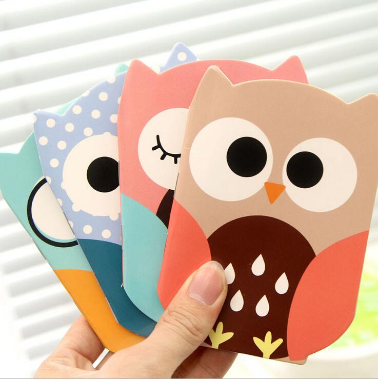 Wholesale- 1 PCS Mini Cute Kawaii Owl Notebook Portable Writing Paper Notepad Office School Diary Stationery Kids Gift