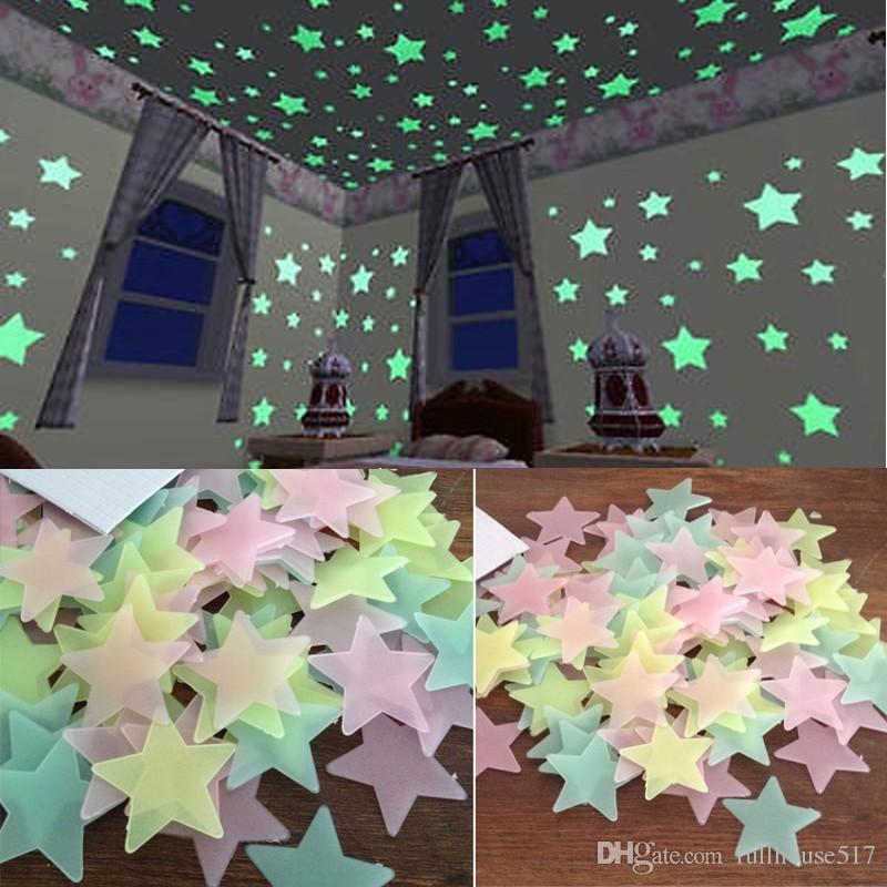 100 piezas de la pared brillan en la oscuridad estrellas pegatinas Planeta techo de la pared del espacio decoración del techo decoración palo en 3 cm luminosa 3d