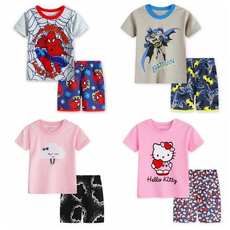 2-7Y Niños Baby Boy's Girl's Kids Dibujos Animados Deportes Camiseta de Manga Corta Pantalones Cortos Pijamas Traje Ropa de dormir Pijamas Homewear SP131