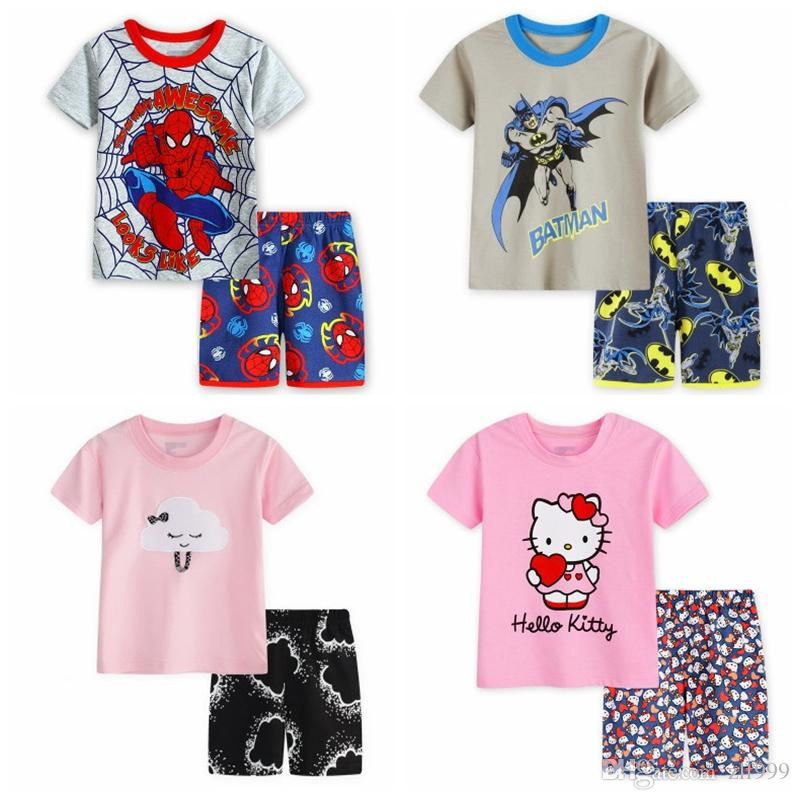 2-7Y Crianças Dos Miúdos Do Bebê Dos Miúdos Dos Desenhos Animados Esportes de Manga Curta Tshirt Shorts Pijamas Terno Pijamas Homewear Pijamas SP131