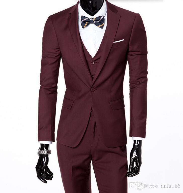 Ismarlama erkek takım elbise moda tek göğüslü erkek düğün takım elbise smokin yakışıklı şık sağdıç smokin (ceket + pantolon + yelek)