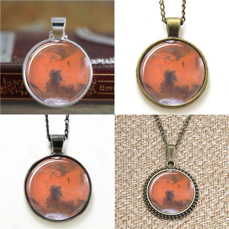 10pcs planeta de Marte colgante Universo colgante collar llavero marcador mancuerna pulsera pendiente