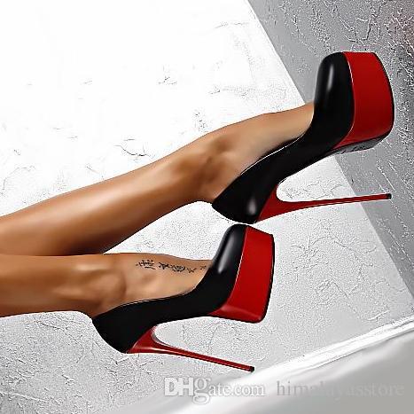 16cm chaussures de mariage sexy stiletto rouge noir femmes talons hauts plate-forme pompes boîte de nuit taille discothèque 34 à 40