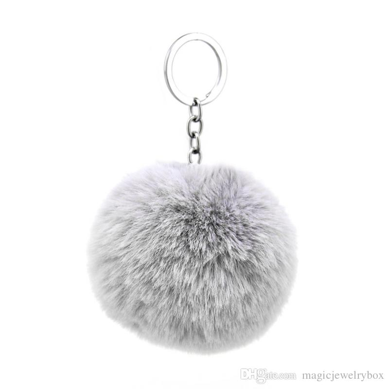 UK Seller Grey 8mm Real Rabbit Fur Bag Charm Chain Ring Pompom Keyring