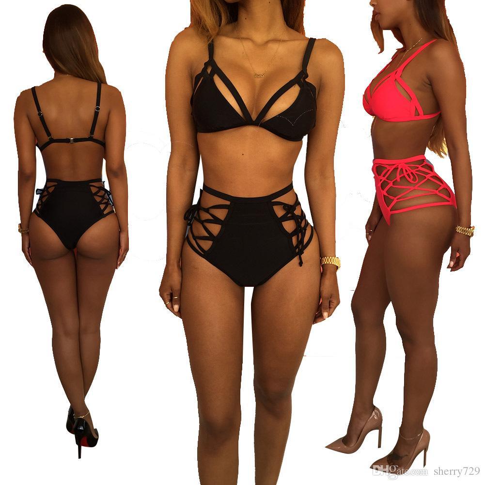 2017 Hot Design Push Up Deux Pièces Maillot De Bain Brésilien Style Personnalité Costume De Bain Sexy Biquinis Halter Bretelles Femmes 5 couleurs Bikini Maillots De Bain