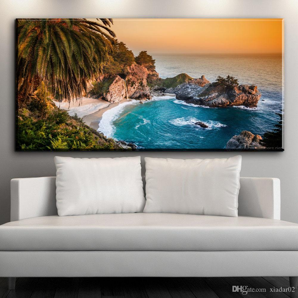 ZZ1539 beautiful canvas wall art prints coconut tree lake landscape canvas oil art painting for livingroom bedroom decoration