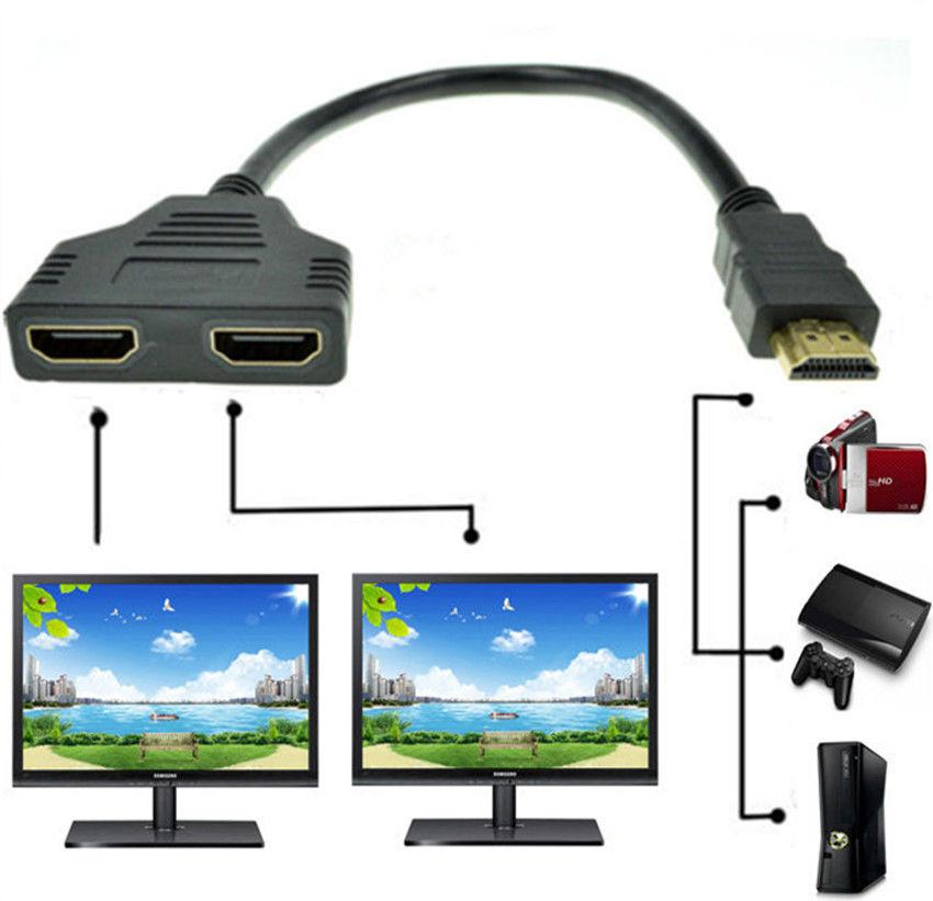 Yeni 1080 P HDMI Bağlantı Noktası Erkek 2 Kadın 1 In 2 Out Splitter Kablo Adaptörü Dönüştürücü