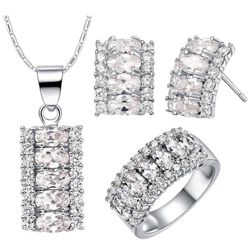 America Zirconium 925 orecchini pendenti in argento sterling anello regalo donna nuovi abiti su misura vestito high-end europeo americano pop lungo I