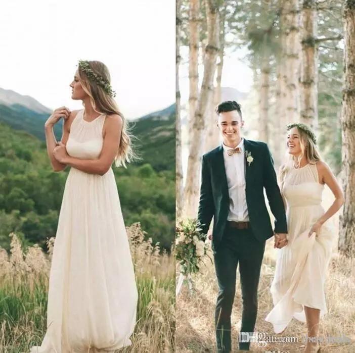 2017 neue Einfache Günstige Land Boho Brautkleider A-line Chiffon Kurzarm Bodenlangen Sommer Strand Nach Maß Braut Kleid