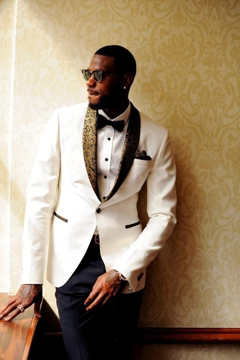 Beau Deux Pièces mariage blanc Smokings Slim Fit Motif d'or Costumes Laple pour les hommes pas cher One Button Groomsman Suit (veste + pantalon + Bow Tie)