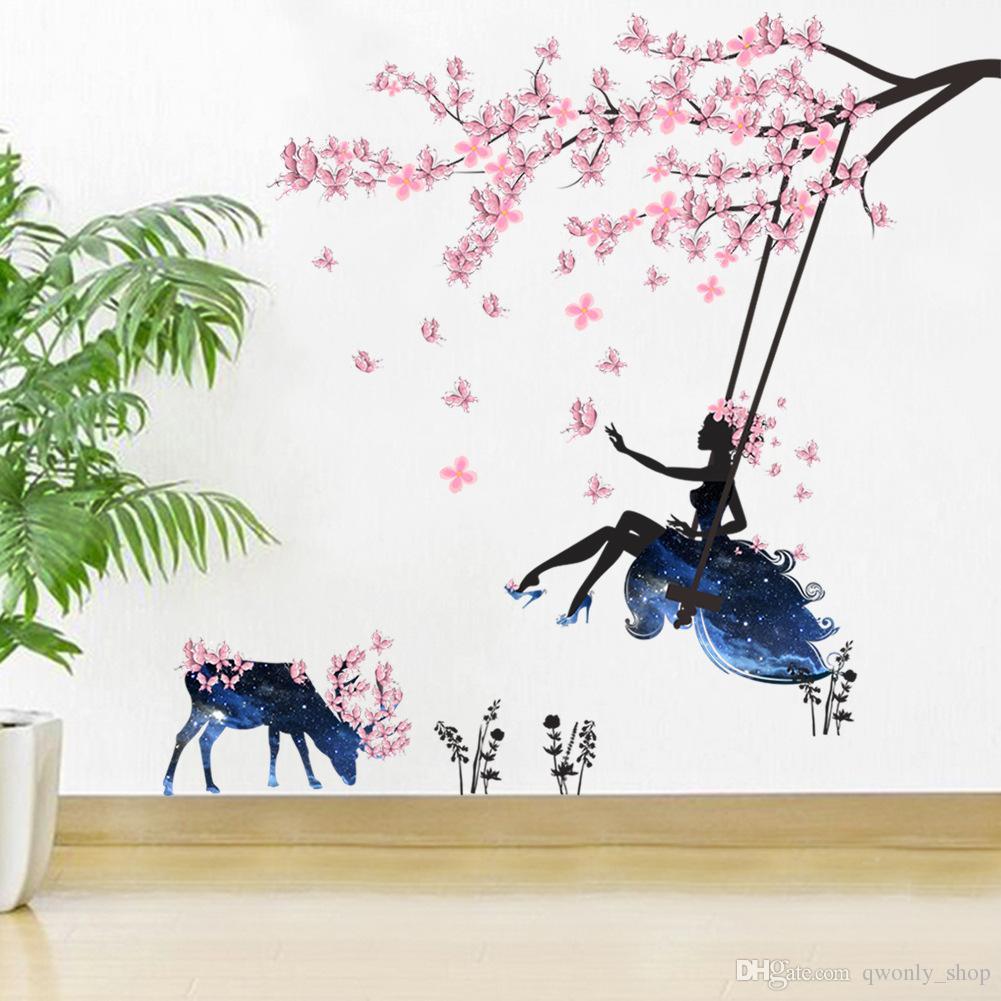 Jolie f/ée rose et papillons en dessin anim/é sticker mural