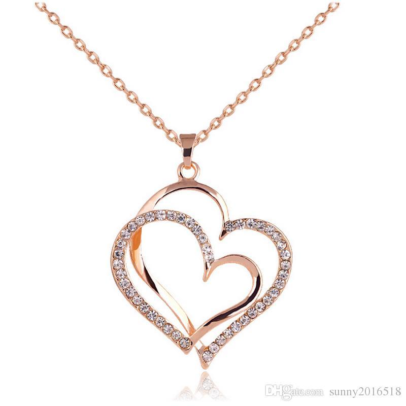 Design Charm Double Heart Pendant Crystal Rhinestone Necklace