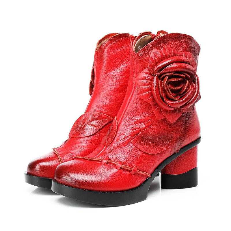 2019 New Spring Handmade Cowhide leather Boots Flowers Fashion Shoes Woman Ankle Boots Plus Velvet Winter Women Boots Wedding Shoes