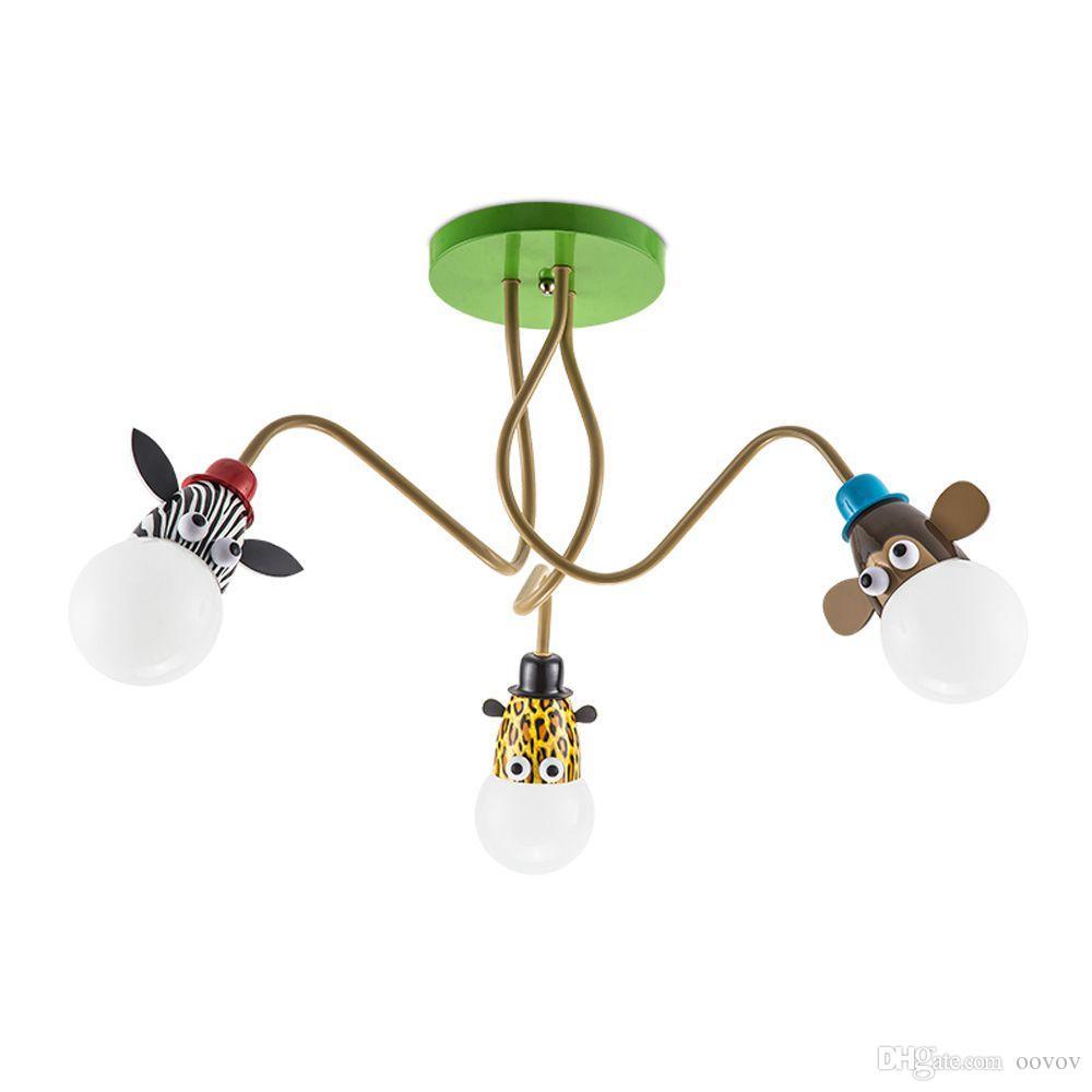 OOVOV Cartoon Animal Boy Girl Room Ceiling Fixtures Kid's Bedroom Baby Room Ceiling Light Monkey Tiger Zebra Giraffe