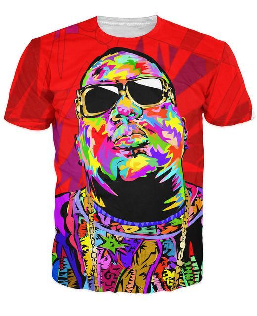 Al por mayor-Hombres de las mujeres 3d Biggie Shades camiseta influyente raperos de The Notorious B.I.G.Biggie Smalls camiseta Tops Summer Style Tees