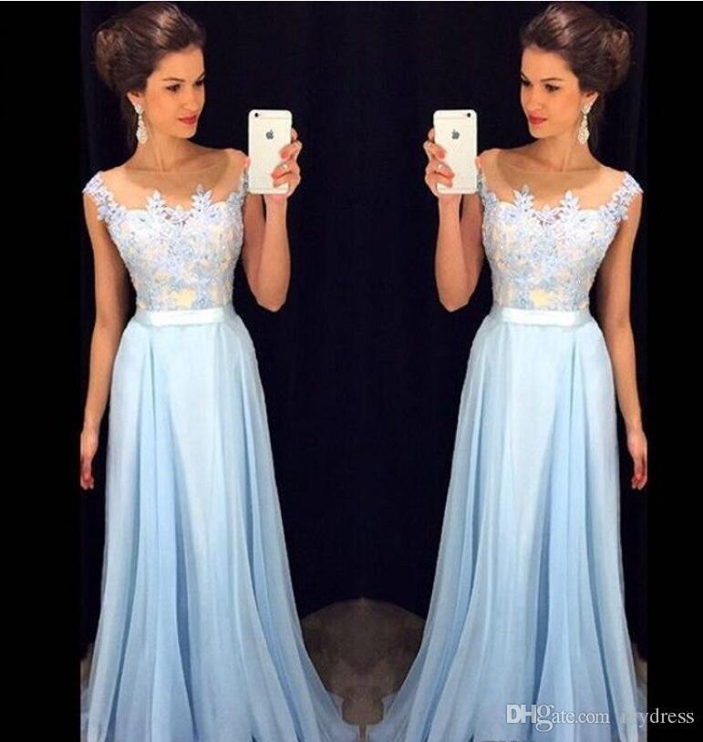 Vestidos de noche largos azul cielo