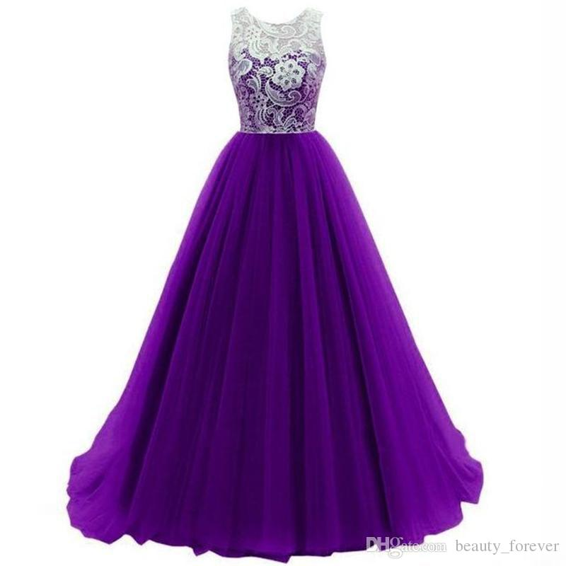 Bottom Chiffon Long Purple Evening Dresses Ball Gown Appliques Lace Scoop Neck with Sleeveless Formal Prom Gowns 2017