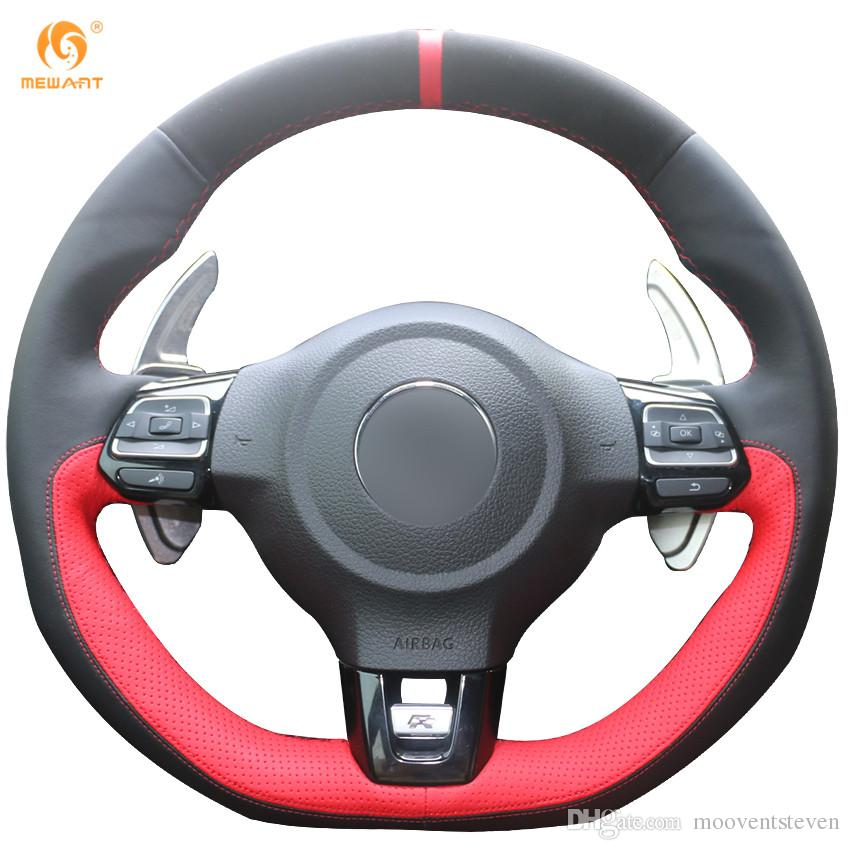 Mewant Black Suede Black Red Leather Car Steering Wheel Cover for Volkswagen Golf 6 GTI MK6 VW Polo GTI Scirocco R