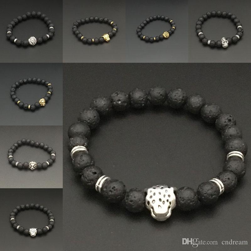 Silver Gold Lion Skull leopard Charm Bracelet Natural Stone Lava Rock Prayer Buddha Bracelet Bangle Cuffs for Women Jewelry Drop Shipping