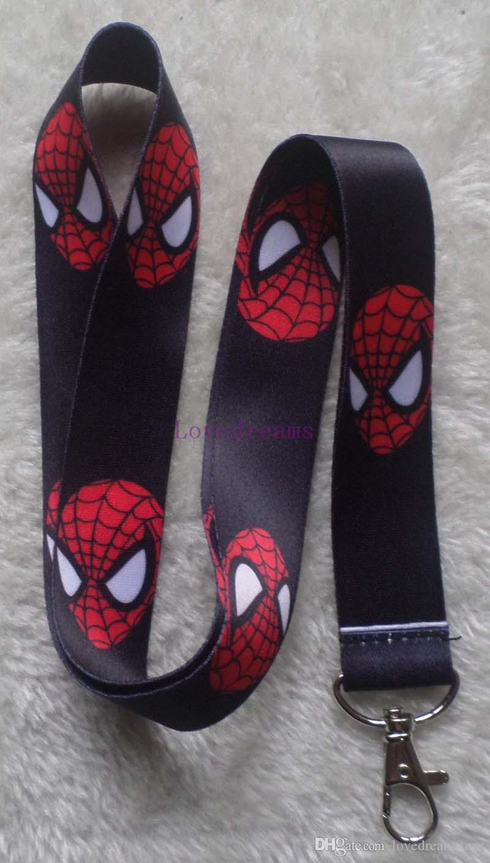 Hot Sale! 20 pcs Cartoon Superhero Spiderman Head Key Chains Mobile Cell Phone Lanyard Neck Straps Children Favors