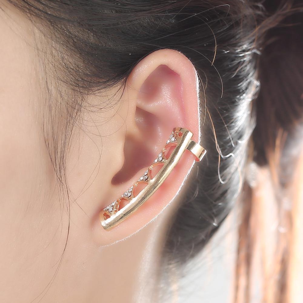 Горячая новая мода большой клип серьги для женщин Модные личности роскошные геометрия серьги уха манжеты ювелирные изделия оптом