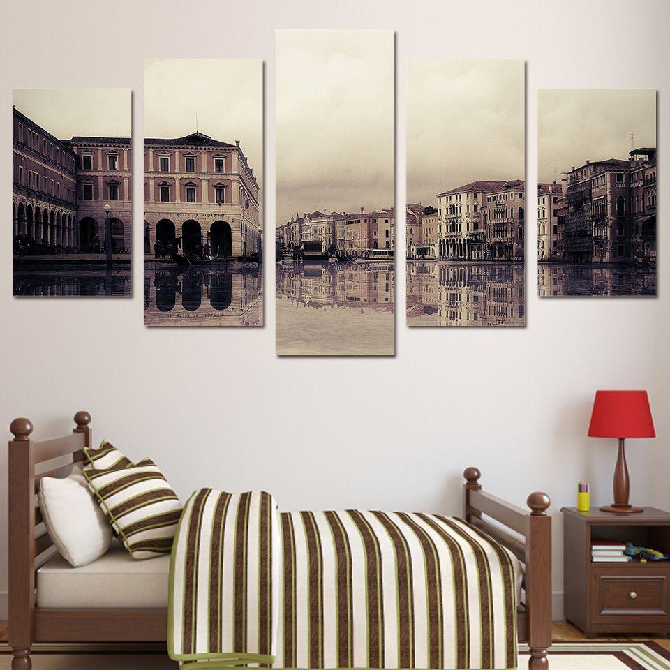 5 Pcs/Set Framed HD Printed Venice River City Building Painting Picutre Print Wall Art Living Room Decor Poster Canvas Paints