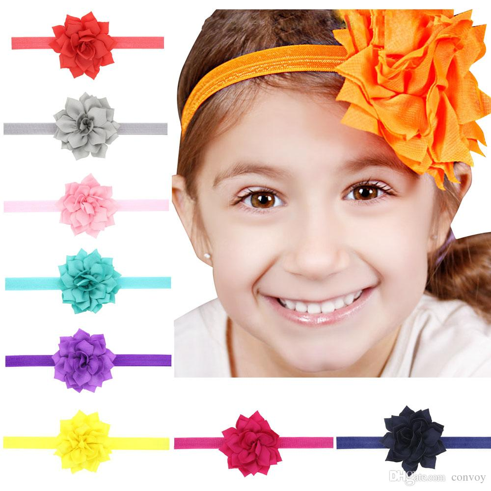 طفل الفتيات رباطات اللوتس الزهور الوليد الرضع مرونة hairbands الأطفال اكسسوارات للشعر لطيف جميل بوتيك أغطية الرأس KHA560