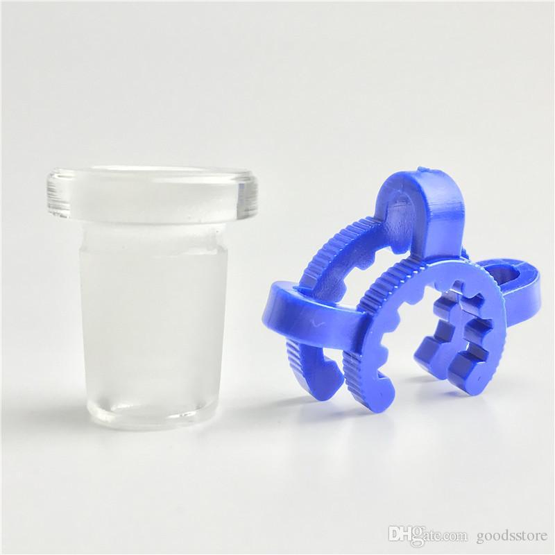 10mm 14mm 18mm adattatore in vetro con plastica keck clip blu bianco mini vetro spesso corto tubi di acqua per fumatori