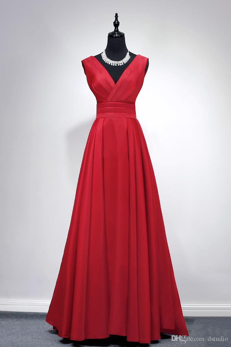 großhandel elegantes satin abendkleid vintage rot lange formale kleid v  ausschnitt Ärmellos zipper zurück sweep zug satin prom kleider günstige von