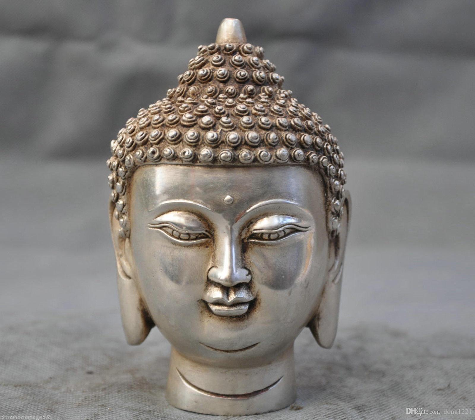 컬렉션 티베트어 실버 불교 Shakyamuni 부처 헤드 버스트 동상