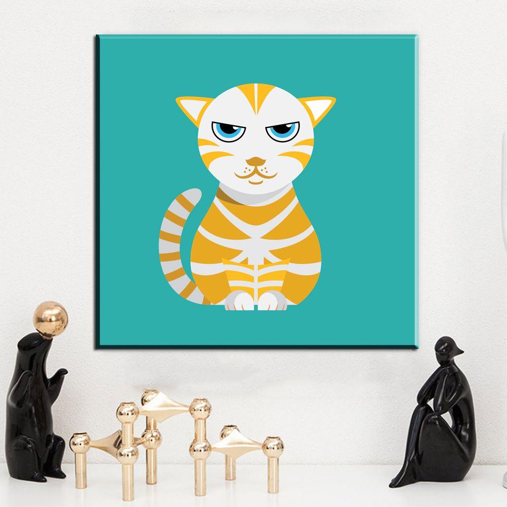 ZZ2075 Animales Nórdicos de Dibujos Animados Imagen Lienzo Pintura gato de la historieta lienzo Cartel de la Impresión Arte de la Lona Para Infantil Habitación decoración