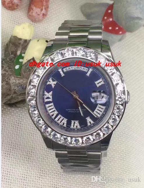 Luxury Armbanduhr Erstaunliche Herren 2 II 18 Karat 41mm Weißgold Größere Diamant Keramik Blende Automatische mechanische Männer Uhren Top Qualität