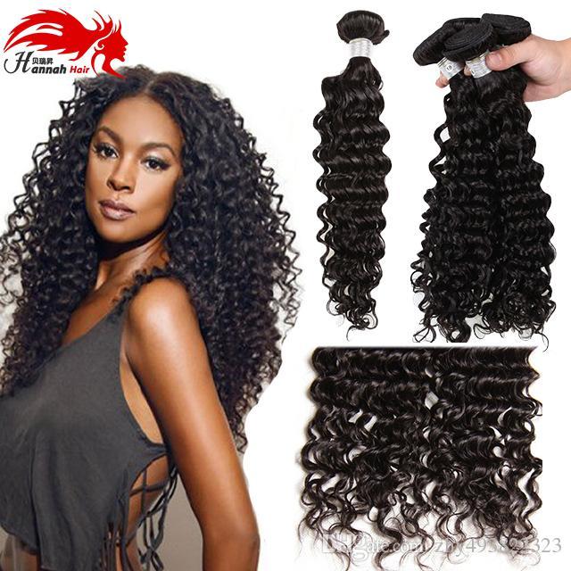 Hannah product Peruvian Virgin Hair Water Wave Virgin Peruvian Curly Hair Water Wave Peruvian Hair Bundles 4 Bundles Curly Weave