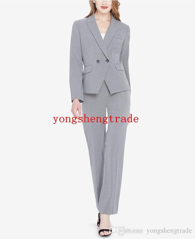 Women\u2019s Business Suit  With Pant Elegant Suit Light Grey Suit Straight Pants Plaid Suit With Double Breasted Jacket Womens Official  Suit
