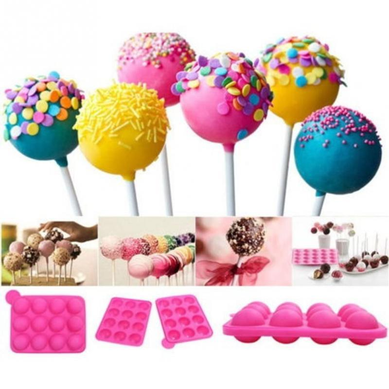 Silicone Cake Pop Mold 12 Hole Ball Shaped Die Mold Silicone Lollipop Chocolate Cake Baking Ice Tray Mold