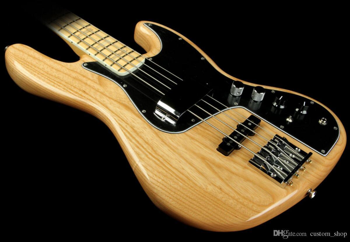 Özel Doğal Marcus Miller İmza 4 Dize Caz Elektrik Bas Gitar Akçaağaç Boyun, Blok Pozisyon İşaretleyiciler 3-cıvata Mikro Tilt Boyun Eklem