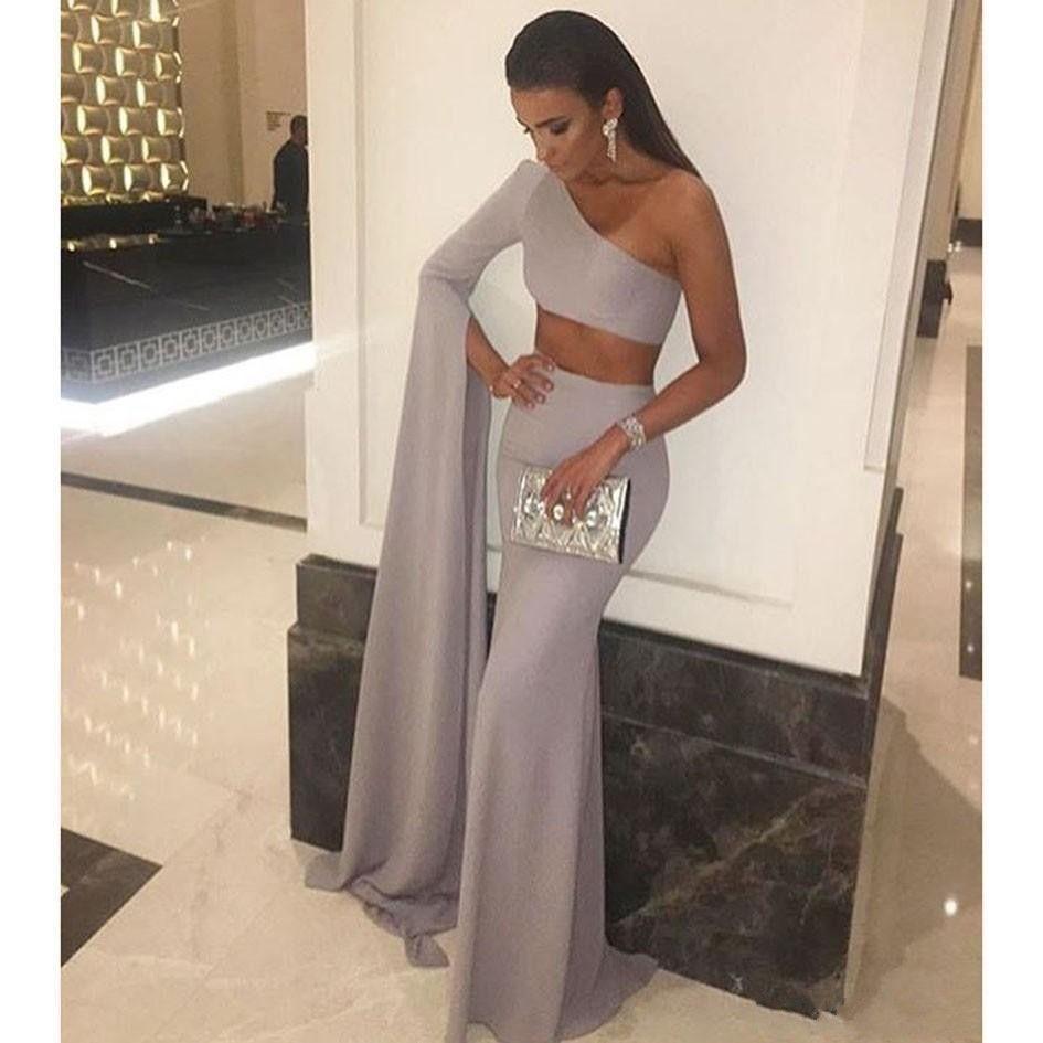 2017 Mode Argent Deux Pièces Une Épaule À Manches Longues Pas Cher Robes De Bal Longue Formelle Soirée Robes De Soirée