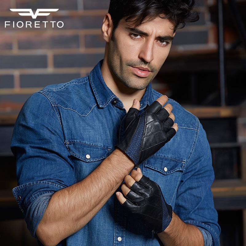 Wholesale- Fioretto Men Fashion enuine Leather Fingerless Gloves Male Half Finger Driving Moto Gloves Patchwork Serpentine Glove