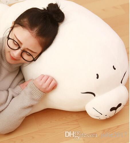 Seal Plush Baby Doll Large Stuffed Cartoon Animal Arctic Seal Toy White Bear Kids Gift Pillow