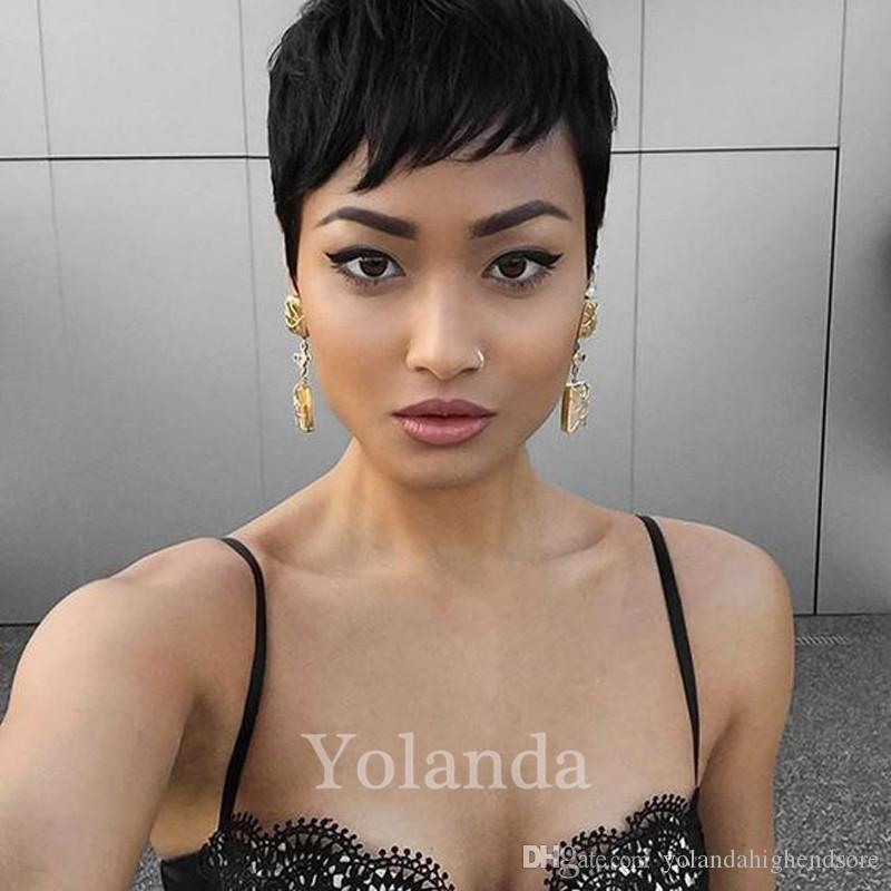 Natural Human Hair Wigs Pixie Cut Short Wig Adjustable Size Hair Human Short Black Wigs For Black Women African American Pixie Short Wigs