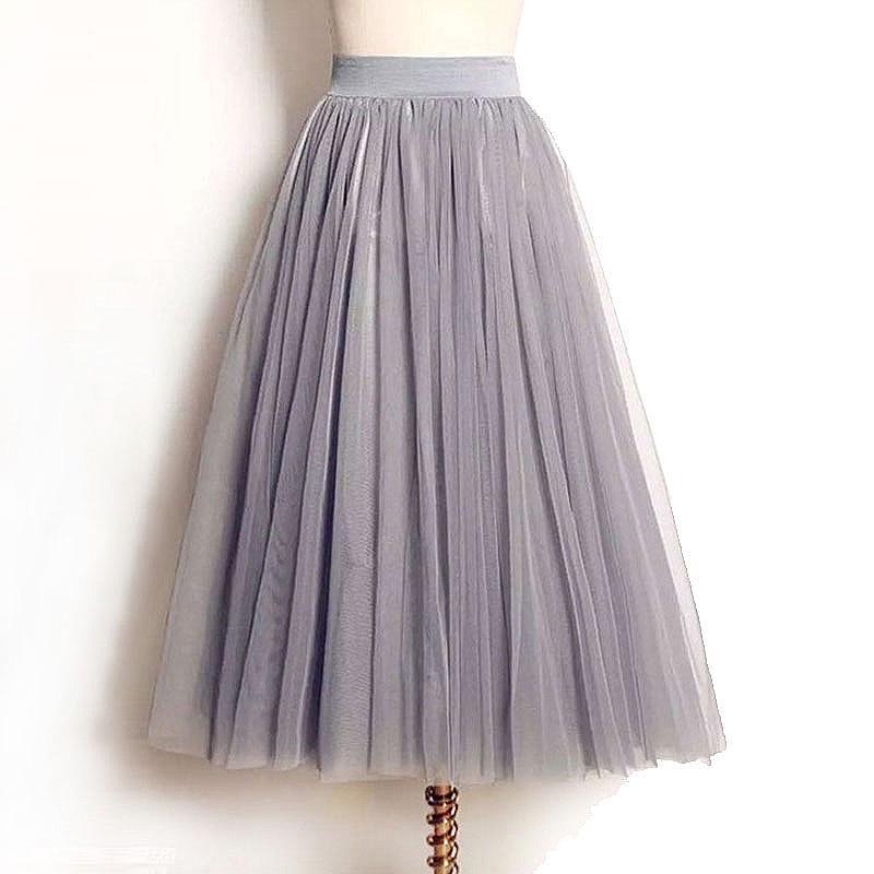 2bbf9923f4 Wholesale- 4 Layers Tulle Skirts Women Summer Elastic High Waist Ladies long  mesh Skirt Womens Tutu Maxi Pleated Skirt midi Faldas Saias
