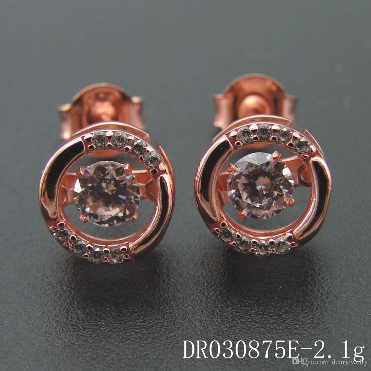 Fashion jewelry 925 silver Long sloshing periphery zircon Betrothal gifts earrings circular Rose Gold Plated DR030875E-R Free shipping