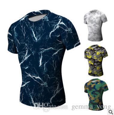 Новые мужские футболки с коротким рукавом o-образным вырезом сжатия топы прохладный кожи колготки Camo тренировки одежда спортивные залы Slim Fit спортивный костюм Бодибилдинг носить синий