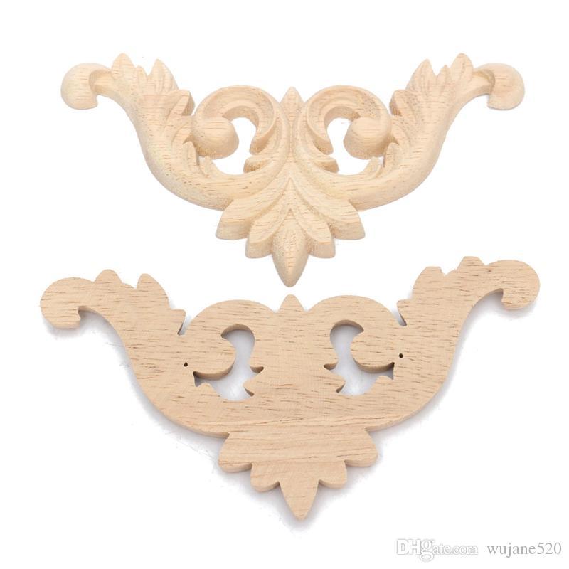 3 حجم الخشب المنحوت الزاوية راصعة زين غير مصبوغ الأثاث جدار الباب درج خزانة التماثيل الزخرفية المنمنمات الخشبية ديكور carfts