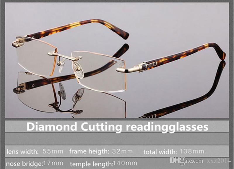 الجملة ملون readinggalsses الماس CUTTED جودة الملكي أسلوب فاخر الكرامة readingglasses التدريجي الرمادي البني + 100 + 300 --- 50step