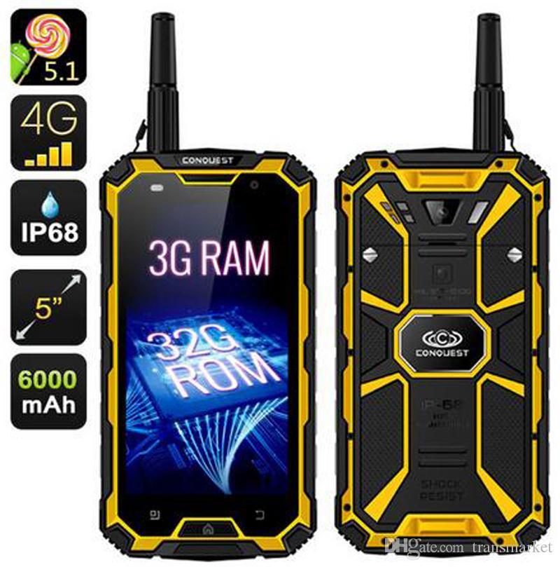 Original Conquest S8 Waterproof Phone 5.0Inch MTK6735 Quadcore 3GB+32GB/4GB+64GB 5+13MP Camera Walkie Talkie Android 6000mAh Battery Newest